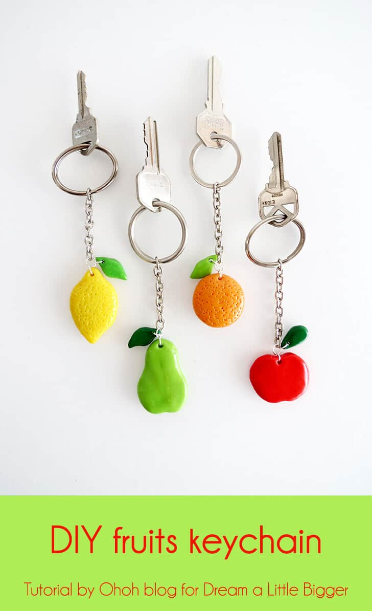 Diy clay fruit keychain
