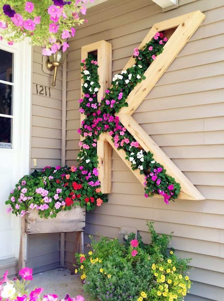 Diy monogram flower bed