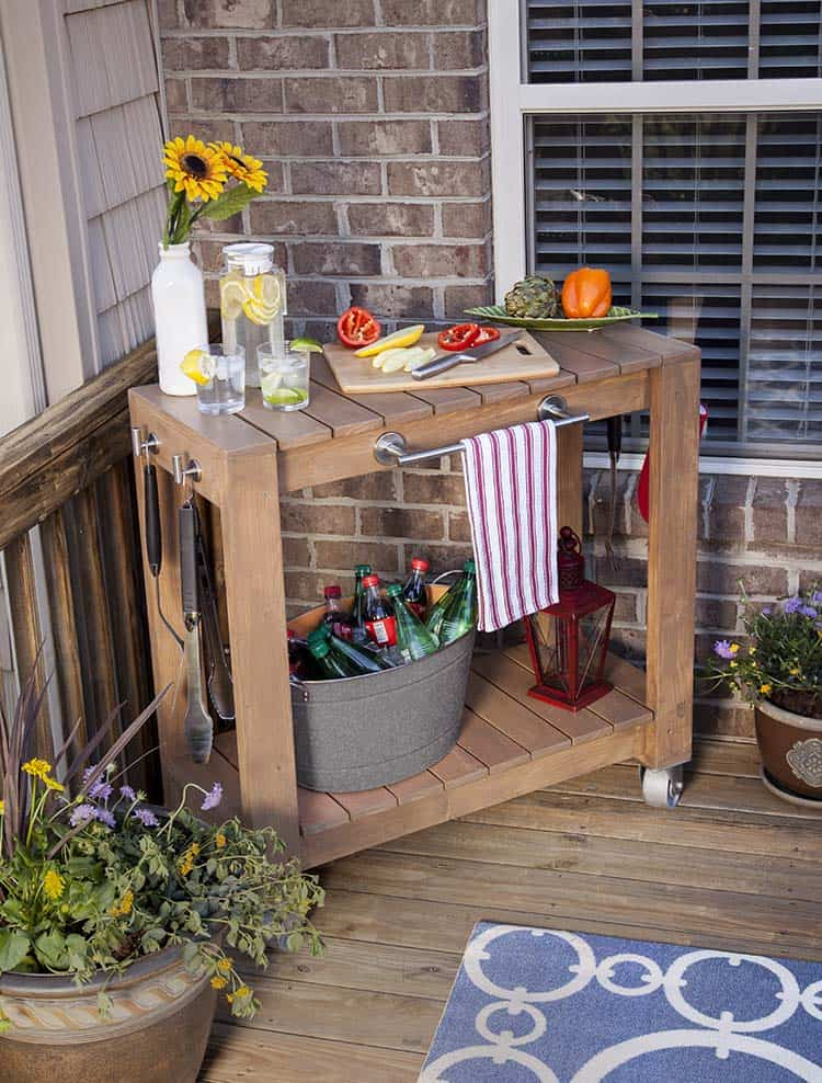 Diy prep and serve outdoor cart