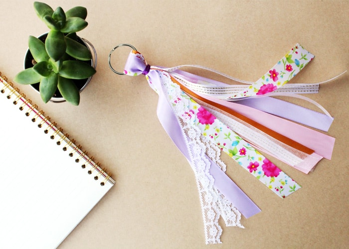 Diy ribbon keychains