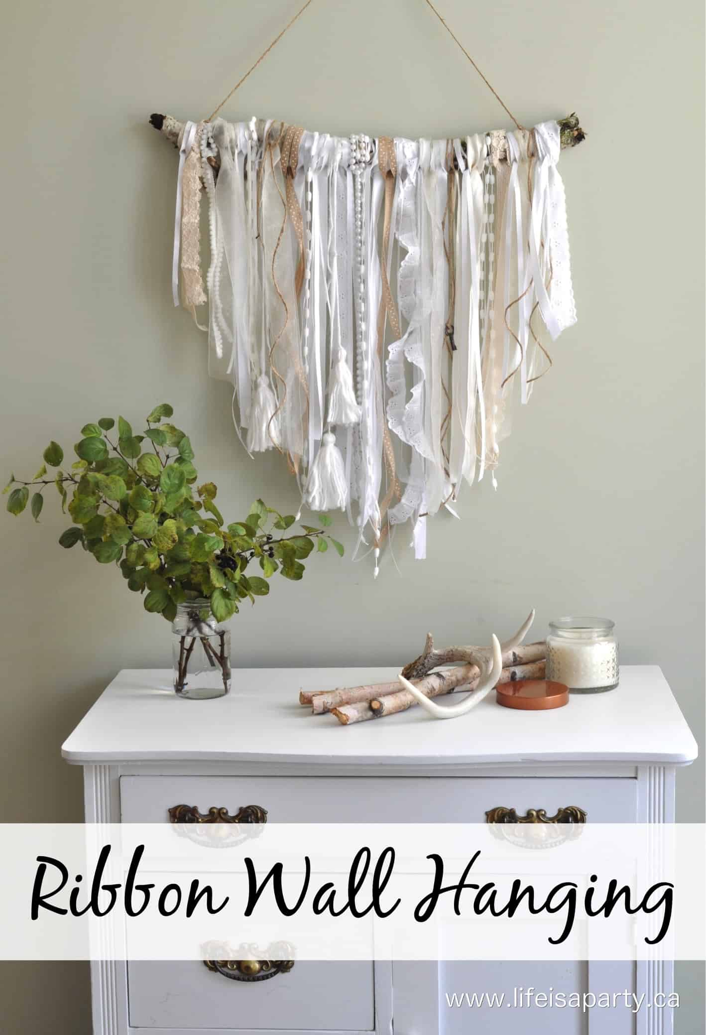 Diy ribbon scraps wall hanging