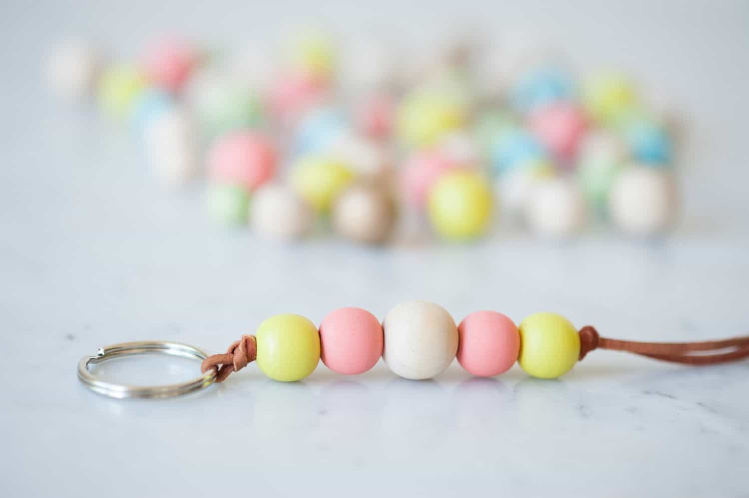Diy wooden bead key chains