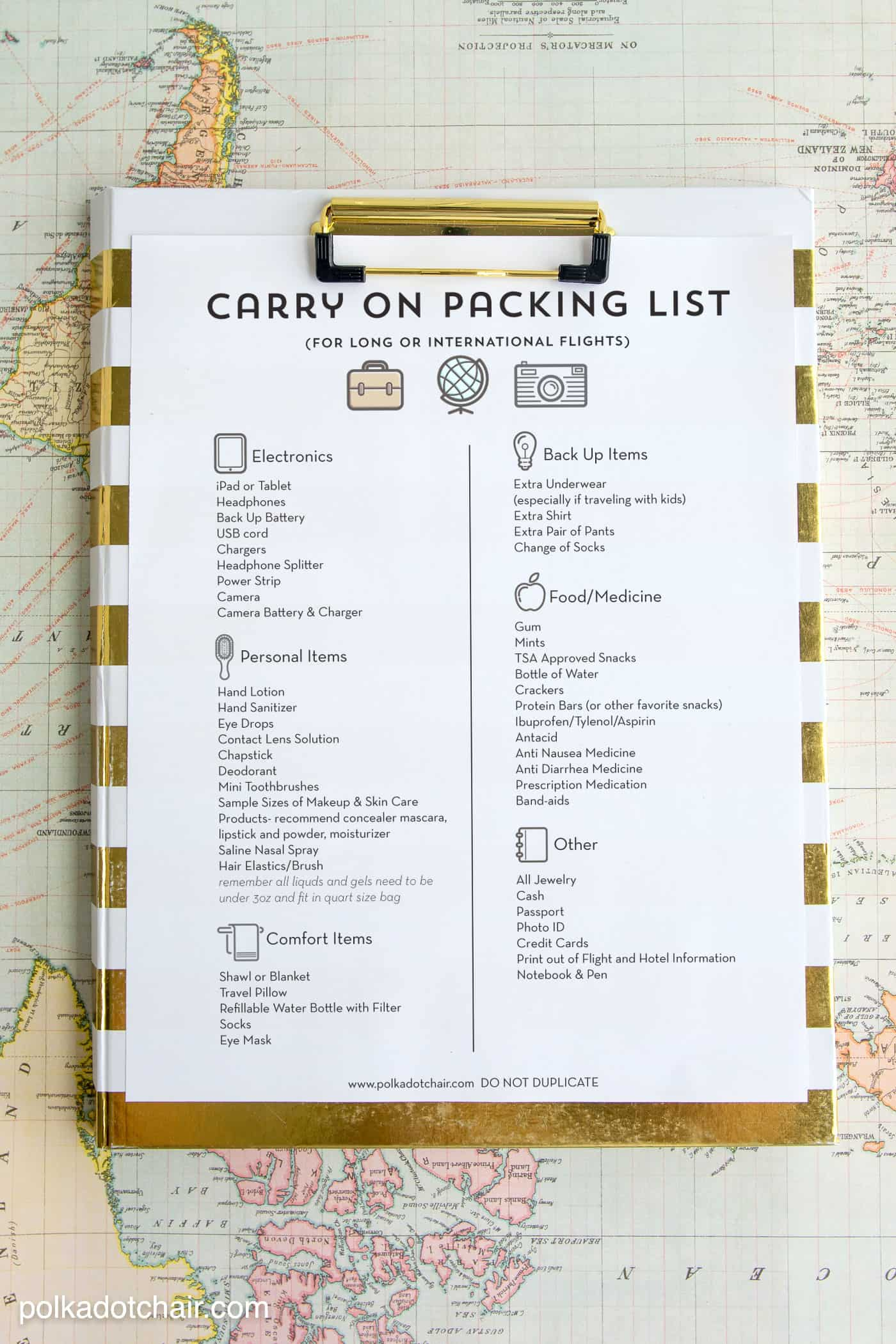 Free printable packing list carry on