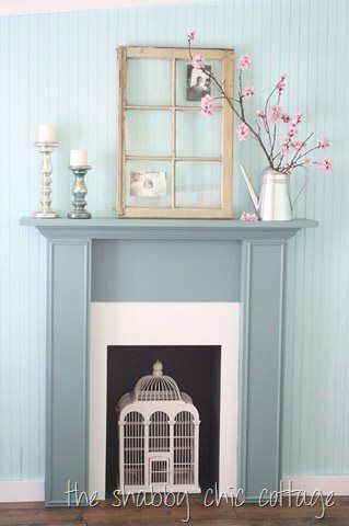 Simple, slim cottage inspired painted mantel