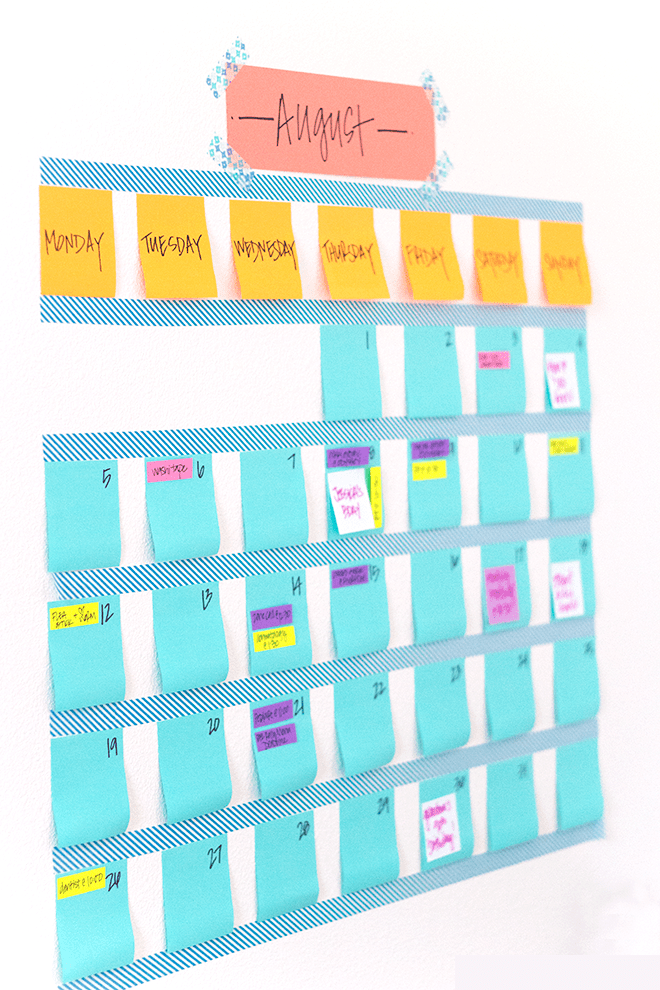Washi tape calendar modish main