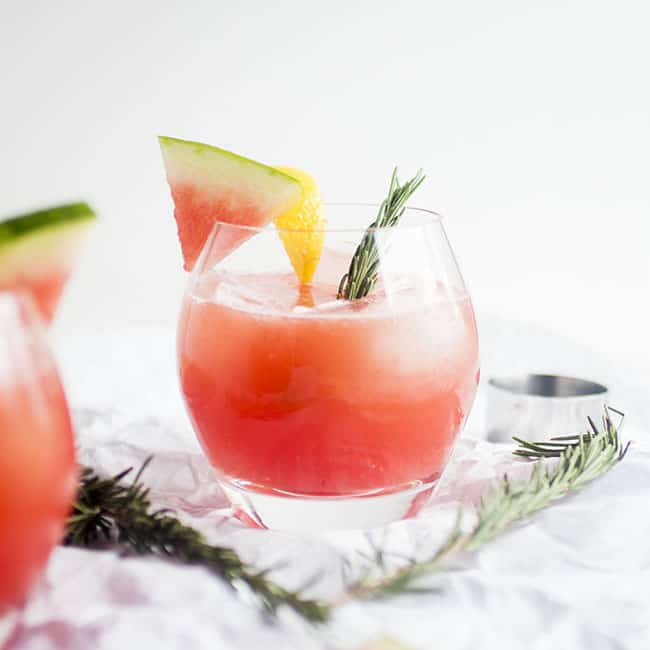 Watermelon juice drink with rosemary