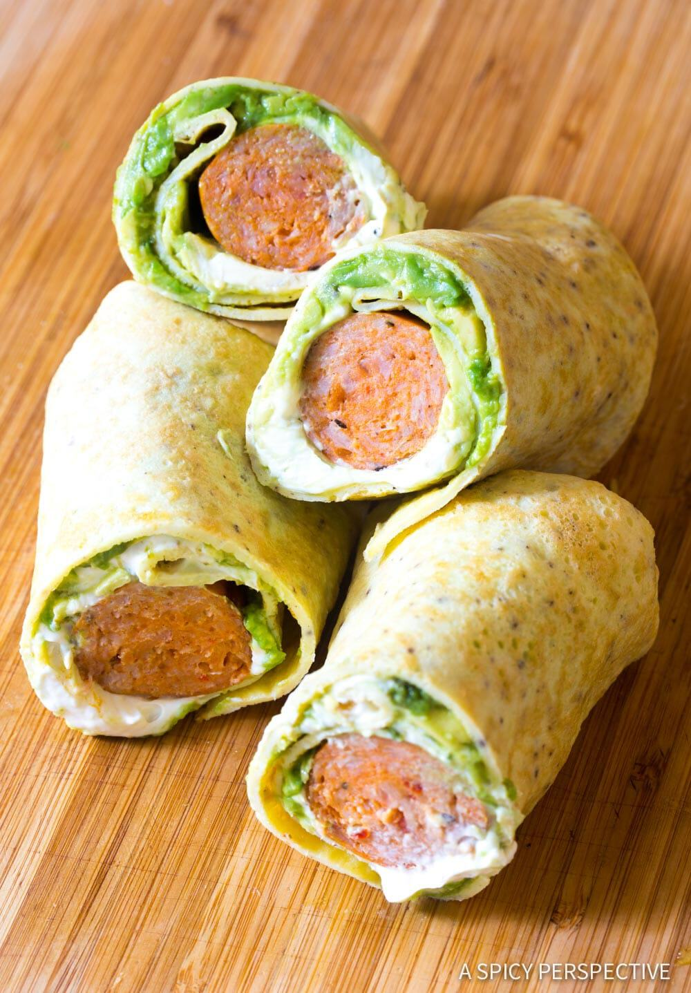 Avocado and chicken sausage egg wraps
