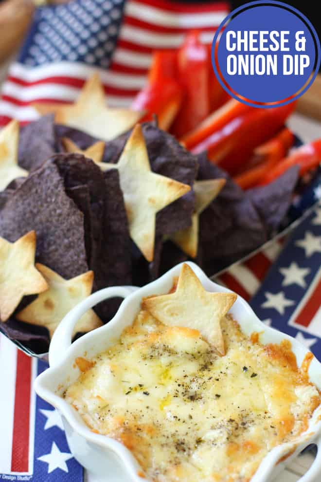 Cheese and onion dip with red peppers, blue tortilla chips, and pita stars
