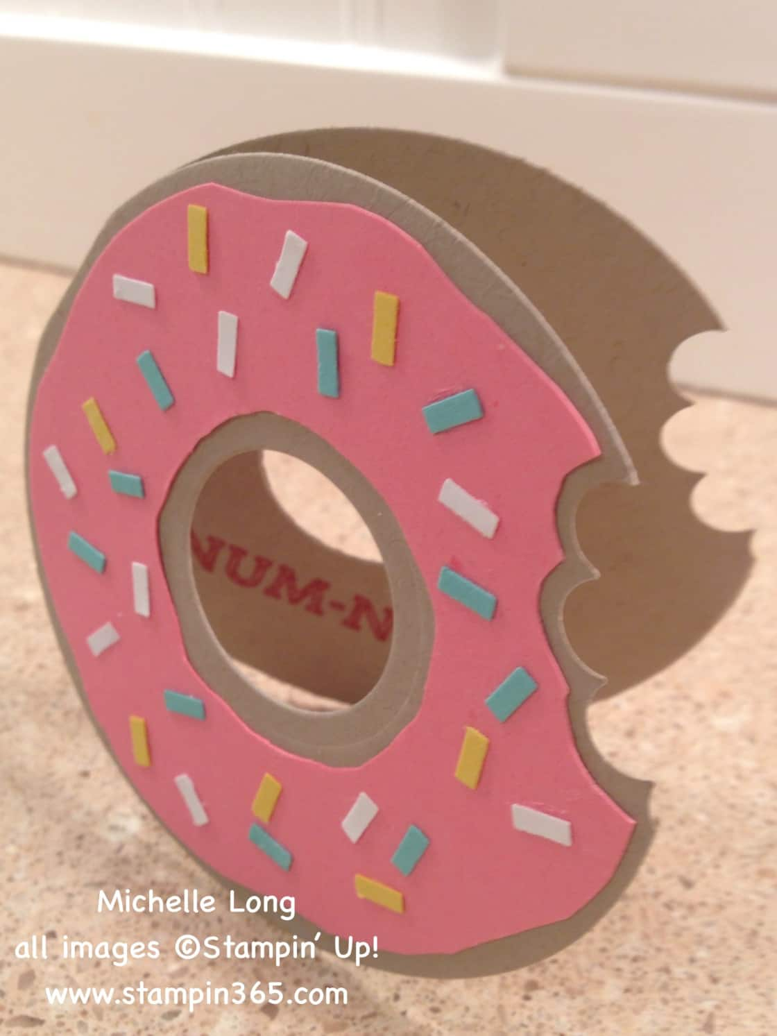 Cut, paste, and stamped donut birthday card