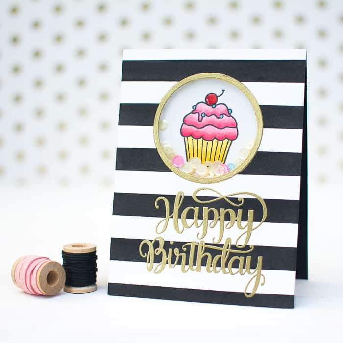 Diy striped sequin shaker card