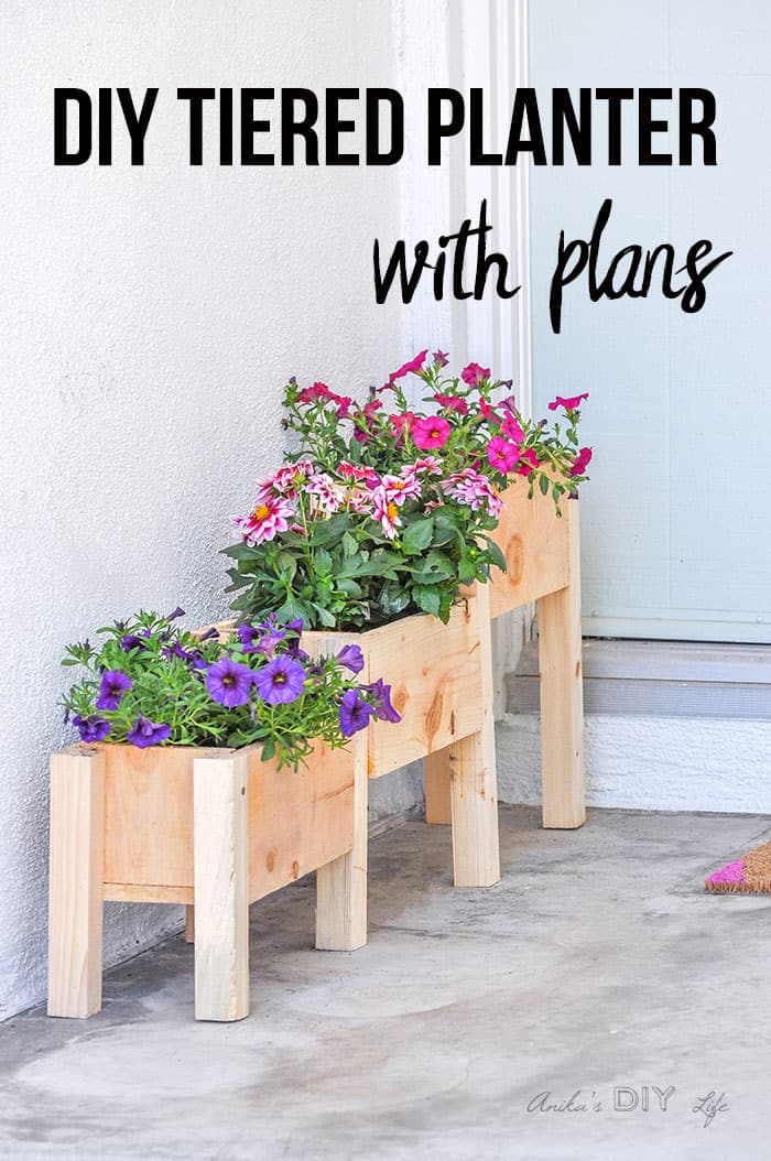 Diy wooden tiered planters