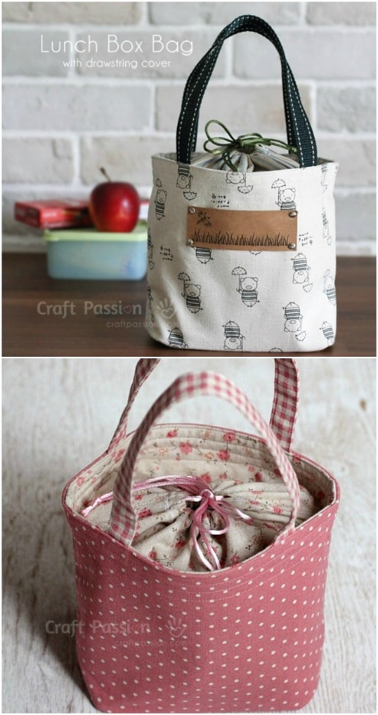 Drawstring style lunch tote