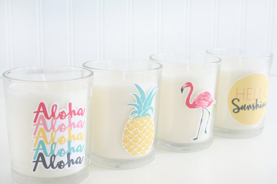 Easy summer candle decor with appliques