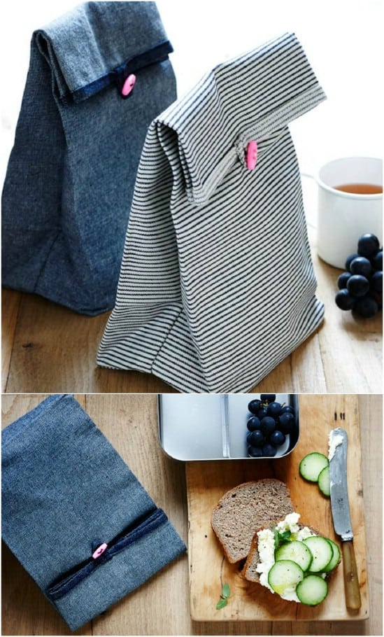 Easy folded button lunch bags