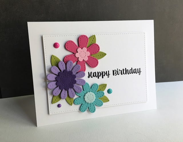 Embroidered fabric flower cards