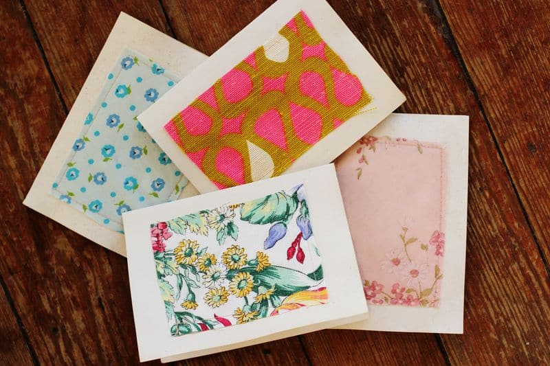 Fabric scrap birthday cards