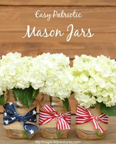 Fourth of july burlap and ribbon mason jar vases
