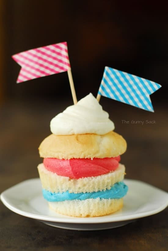 On the fourth of July layered cupcakes
