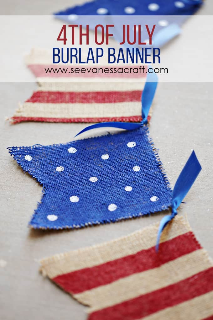 Hand pained patriotic burlap banner