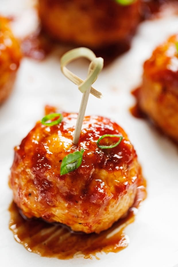 Hawaiian barbecue chicken meatballs