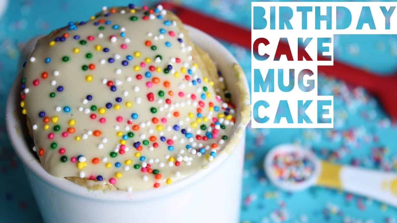 Healthy birthday mug cake