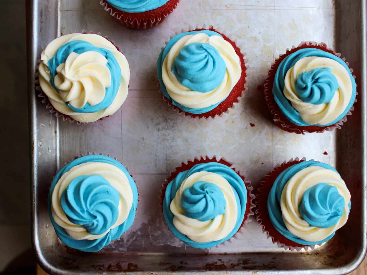Ice cream filled fourth of july cupcakes