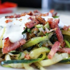 Low carb zoodle bacon alfredo