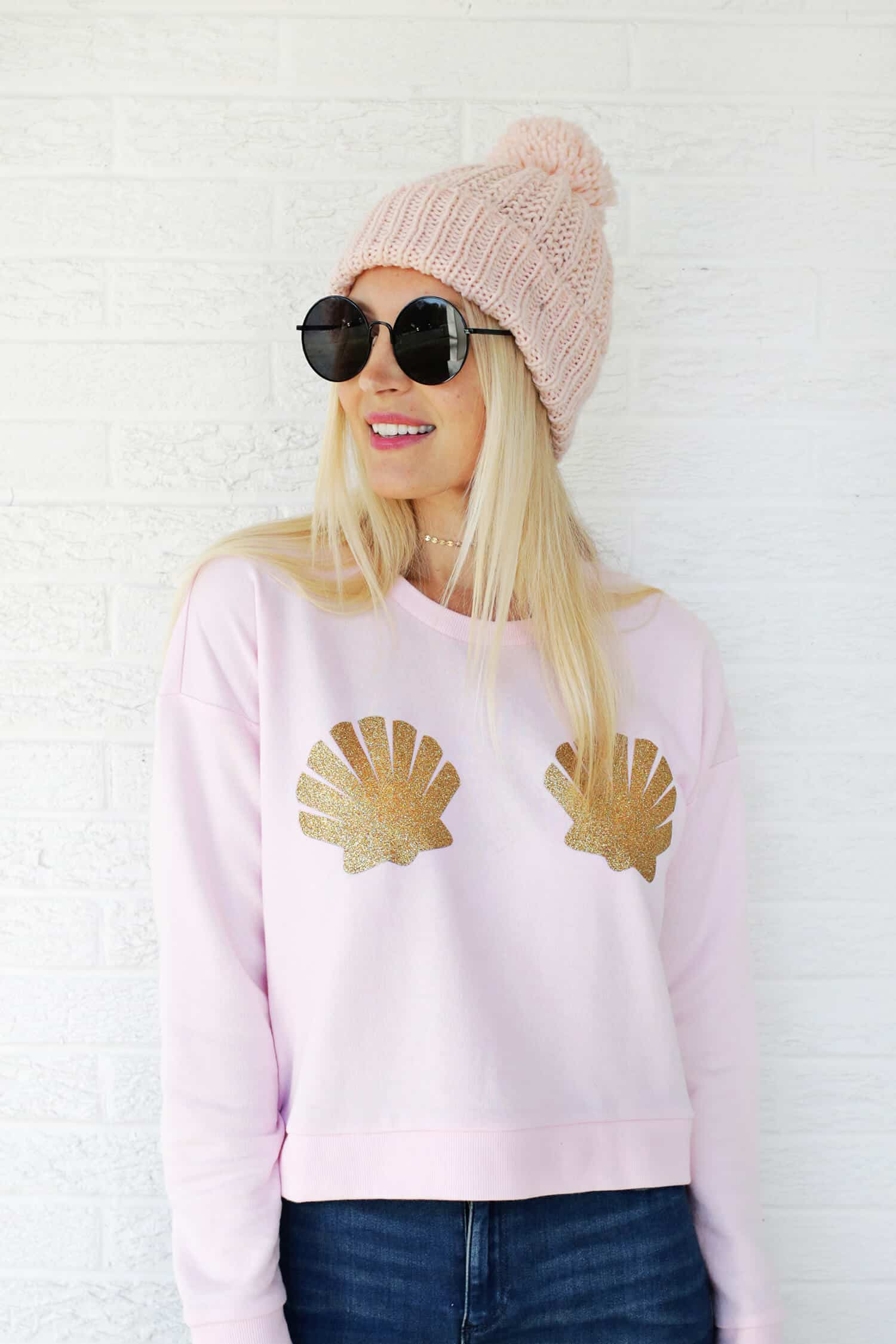 Mermaid shell sweatshirt diy with printable click through for tutorial 1