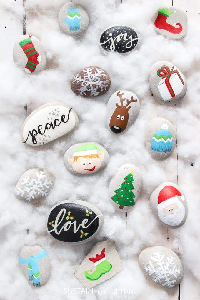 Painted christmas rocks diy