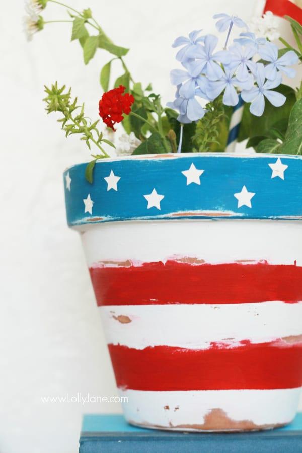 Painted patriotic flower pot