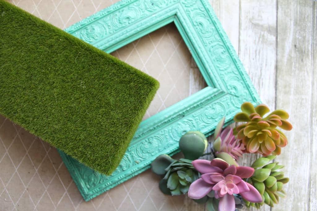 Painted vintage frame succulent garden