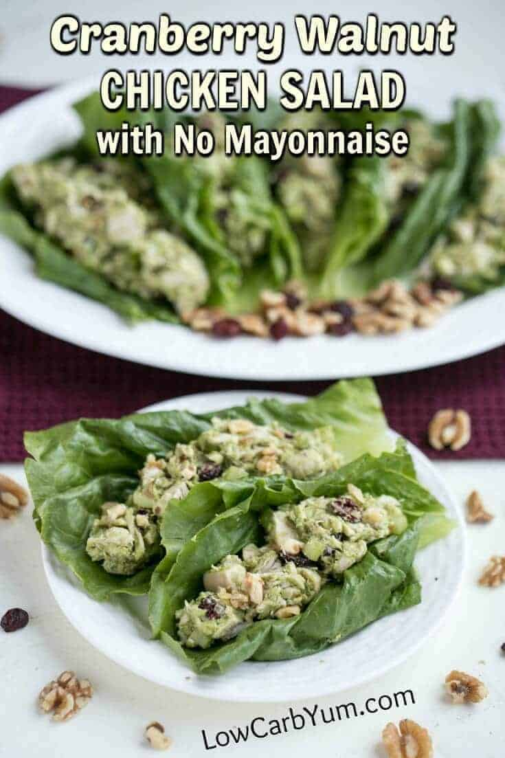Paleo cranberry walnut chicken salad with no mayo