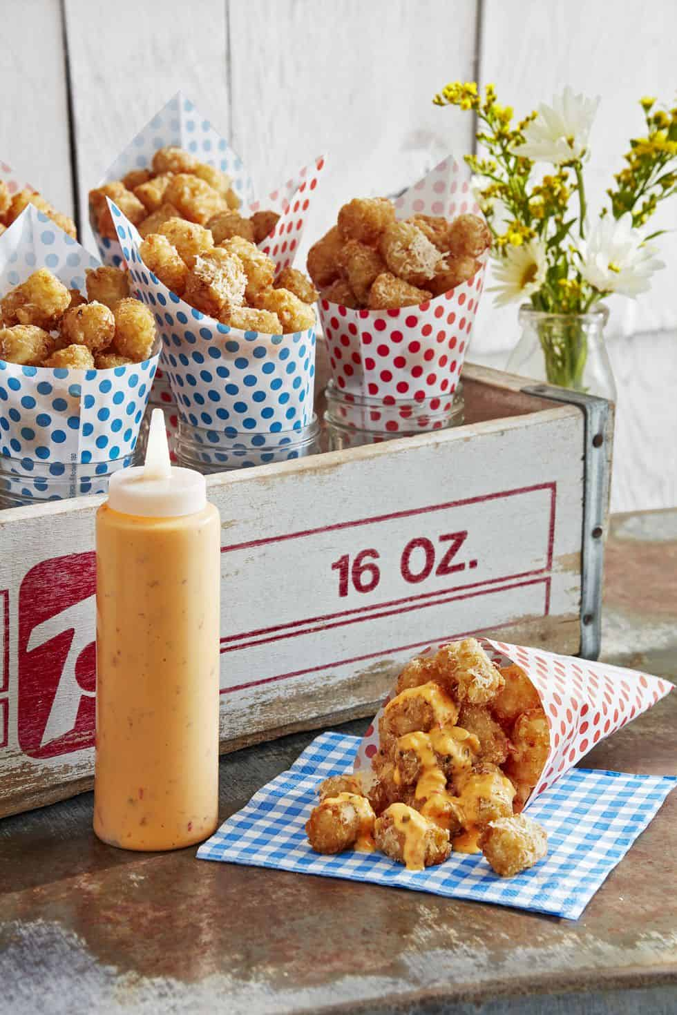 Parmesan tots with dipping sauce