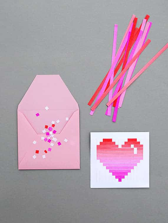 Pixelated woven paper card