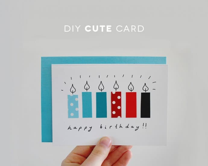 Recycled paper candles card