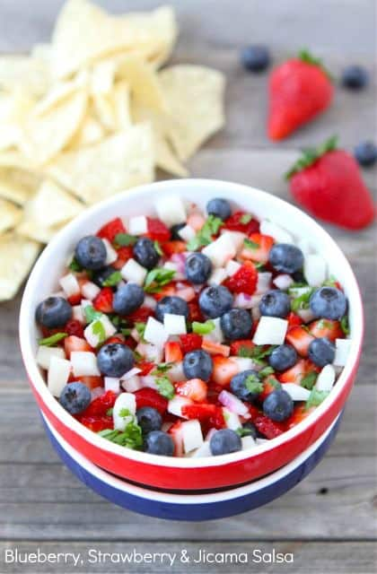 Red, white, and blue bluberry, strawberry, and jiacma salsa