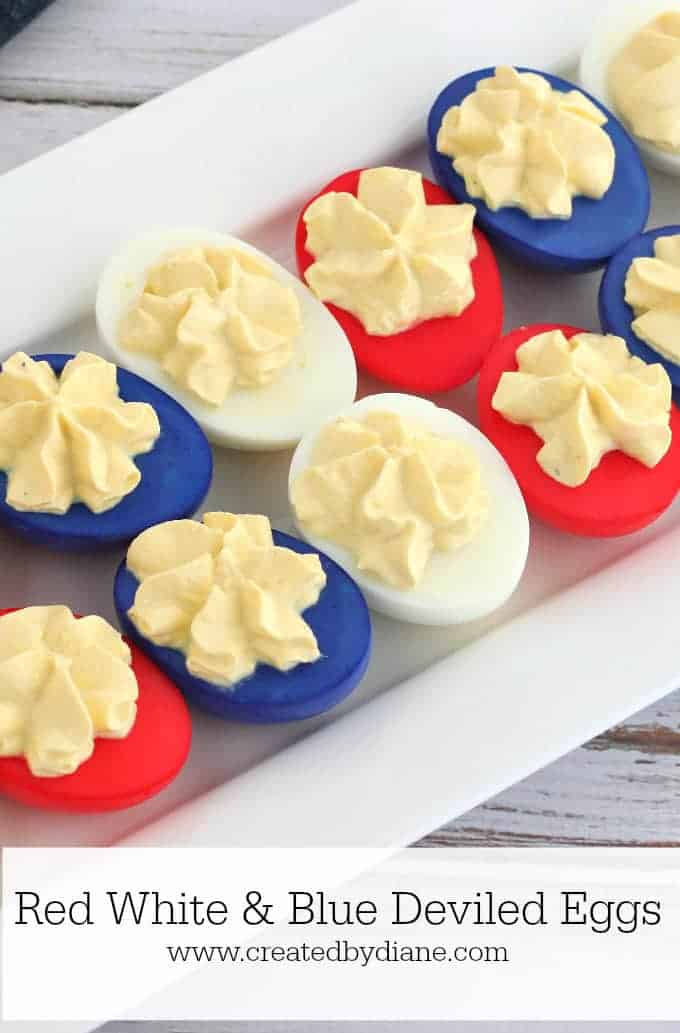 Red, white, and blue devilled eggs