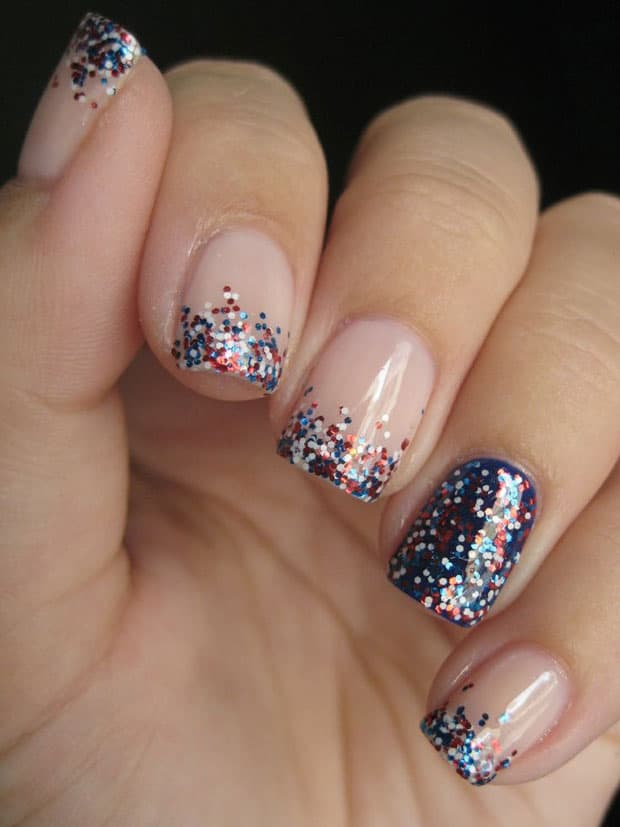 Red white and blue glitter nails