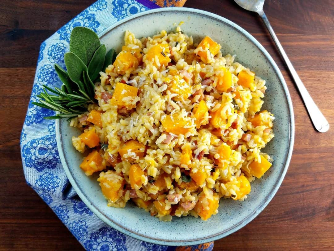 Roasted butternut squash and ham risotto