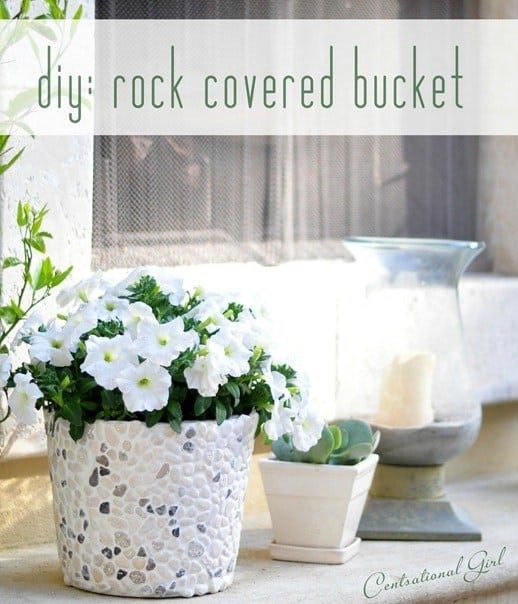 Rock covered bucket planter
