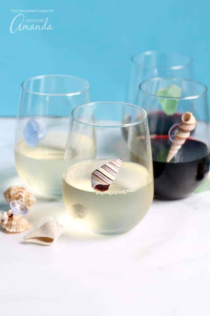 Seashell wine charms diy