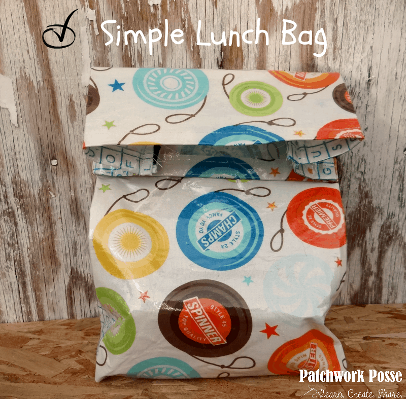 Simple cotton lined vinyl lunch bag