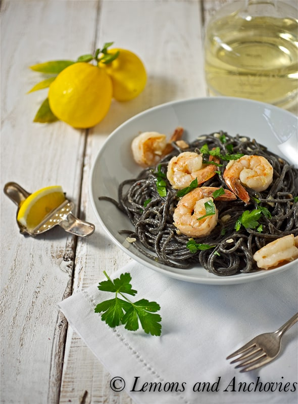 Squid ink spaghetti with shrimp and white truffle oil