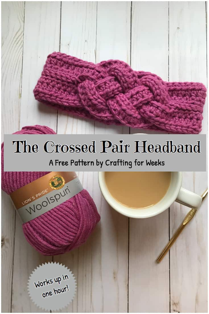 The crossed pair crochet headband