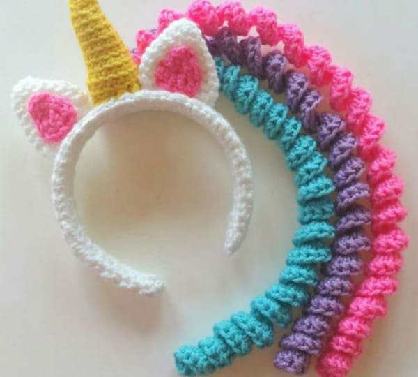 Unicorn little headband crochet diy 2