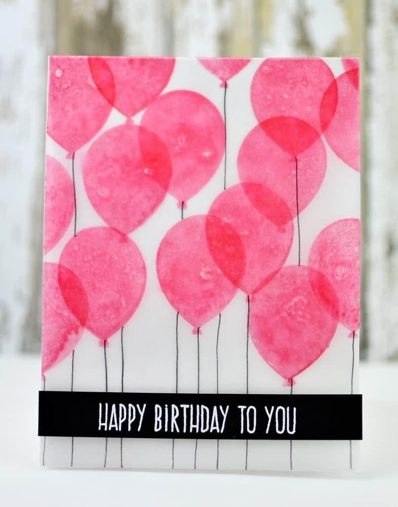 Vellum balloons card
