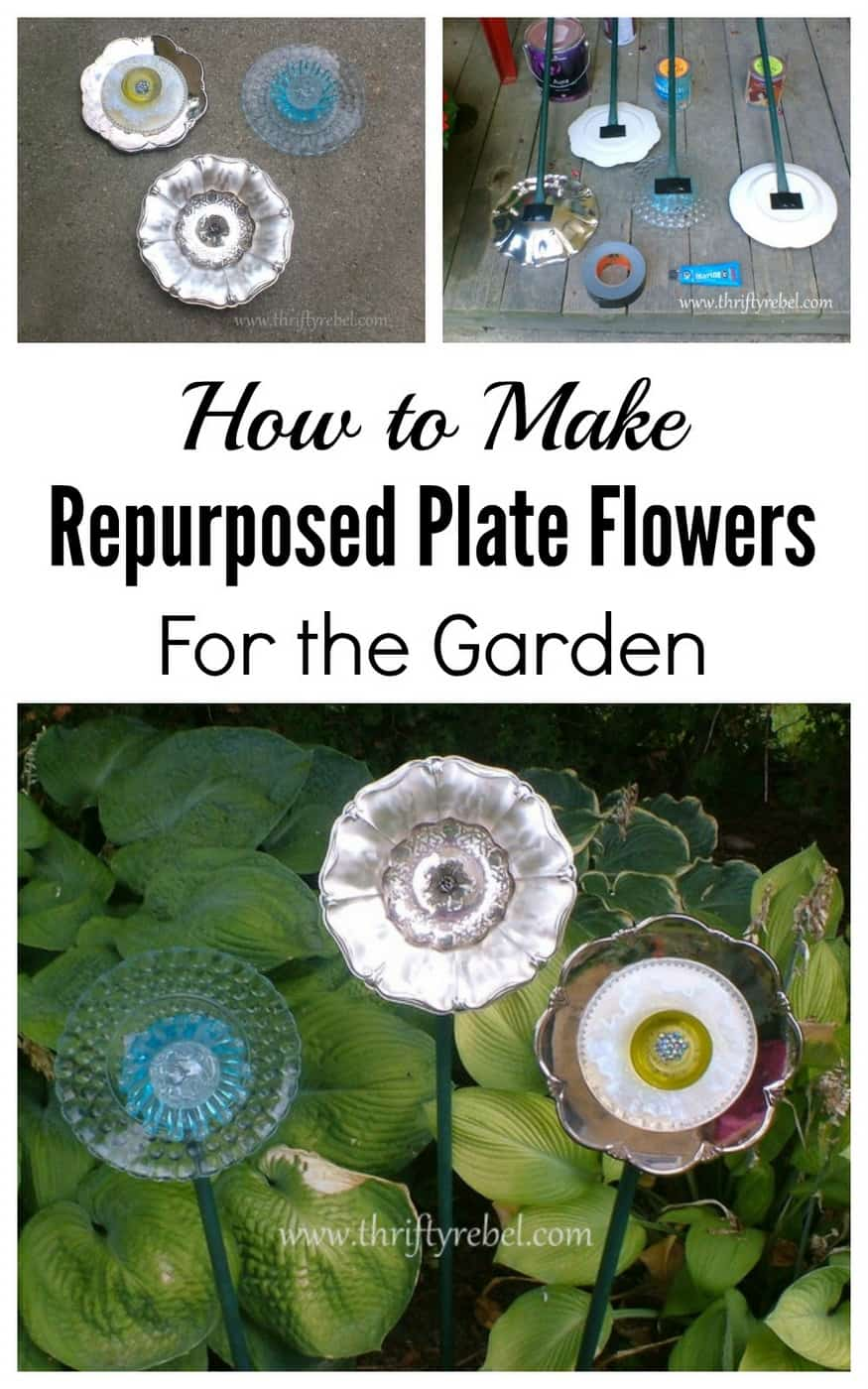 Wall mounnted repurposed plate flowers