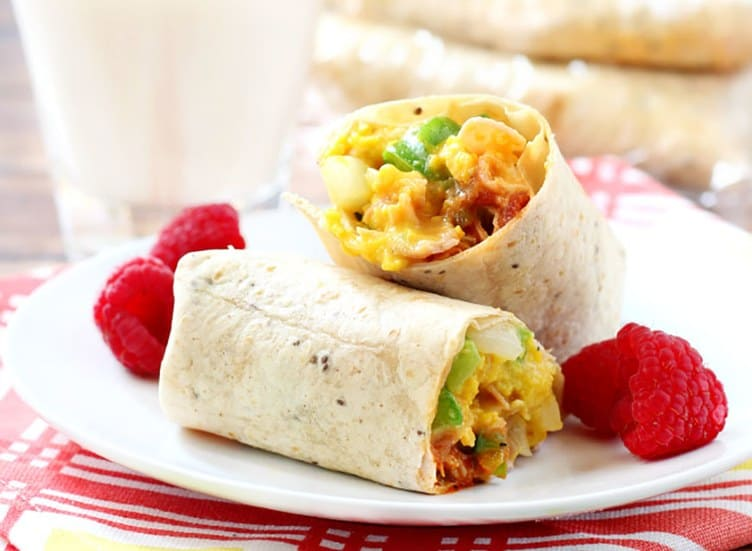 Western stylw breakfast burritos