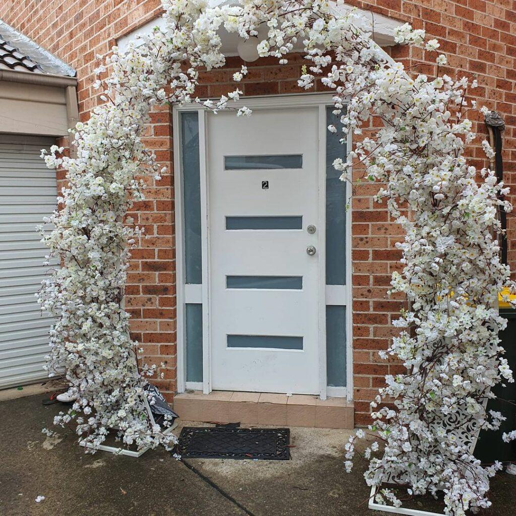White portal arch