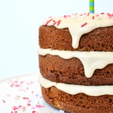 Whole wheat vanilla birthday cake